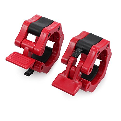AUTOUTLET 2pcs 2''(50mm) Weight Lifting Barbell Lock Collars for Bumper Plate use, Olympic Lifting, and Platform Lifting Workouts, Red by AUTOUTLET