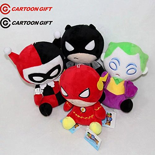 "4pcs/set Superheroes 8"" The Flash Joker Batman Harley Quinn Plush Toy Doll Gift"