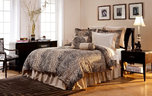 Pointehaven Printed 300 TC 3-Piece 100-Percent Combed Cotton Duvet Set, Urban Safari, King (Print Animal Set Comforter)