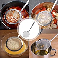 Set of 4 Stainless Steel Fine Mesh Strainer Sieve Colander Hot Pot Fat Skimmer Spoon for Skimming Grease Flour Foam Soup Kithchen Cooking Tool