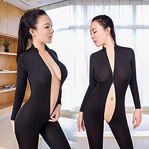 FAPIZI Clearance Women Striped Bodysuit Zipper Ladies Long Sleeve Strapless Open Crotch Lingerie Jumpsuit