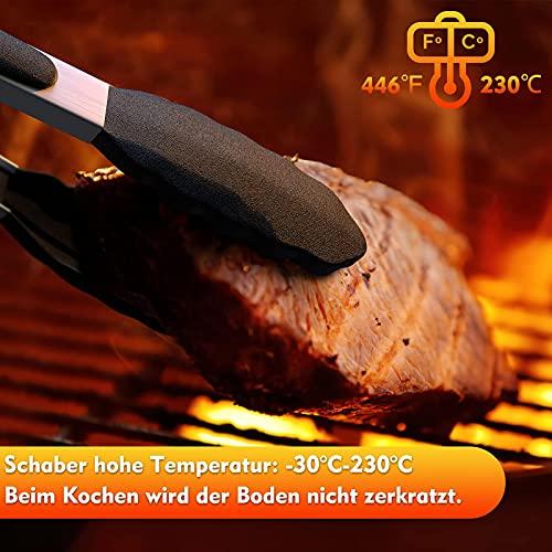 10 Stück Silikon Küchenhelfer Set, Hitzebeständig Küchenutensilien BPA Antihaft Hitzebeständiger Holzgriff Schaber Silikonspatel Set Küchenbackwerkzeuge (Schwarz)