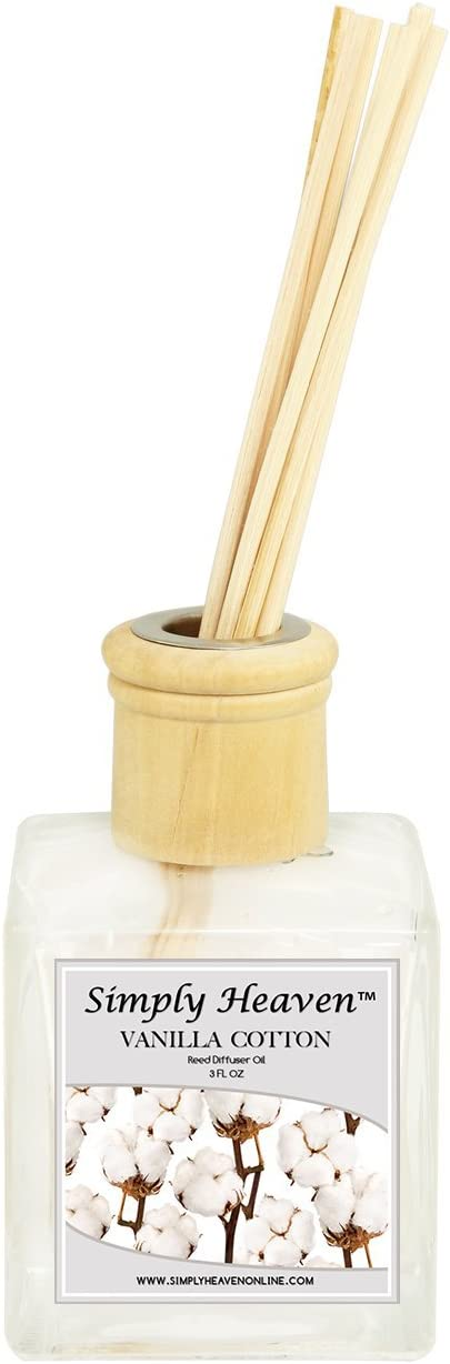 Simply Heaven Richly Scented Reed Diffuser   Aromatherapy Oil Reed Diffuser Sticks   Vanilla Cotton Fragrance Oil Reed Diffuser   Long Lasting Home & Indoor Fragrance   Attractive Decor & Hand Crafted
