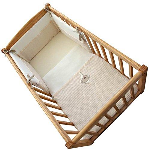 Clair de Lune Soft Waffle Bear 2 Piece Rocking Crib/Cradle Quilt & Bumper Bedding Set, Cream