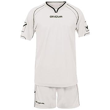 Givova Kit Capo Calentar Entrenamiento Equipo de fútbol tira camisa shorts calcetines cerilla - Blanco,