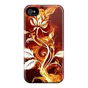 Defender Case With Nice Appearance (flower On Fire) For Iphone 4/4s