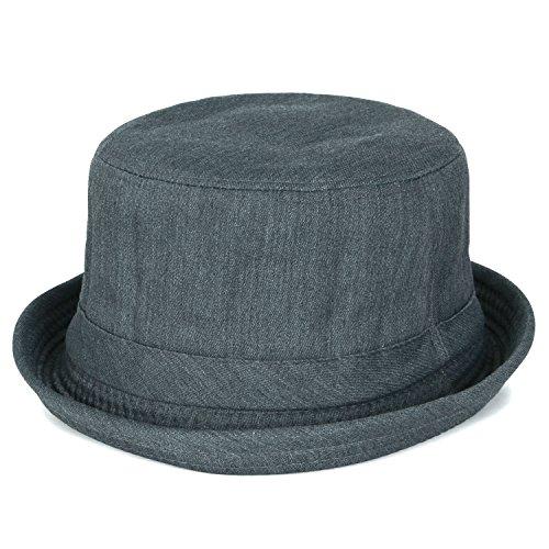 ililily Solid Twill Cotton Pork Pie Rolled Trimmed Brim Flat Top Bucket Hat, - Pork Bad Pie Breaking Hat