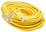 Yellow Jacket 2820 12/3 Heavy-Duty 15-Amp SJTW Contractor Extension Cord with Lighted Power Block, 100-Feet