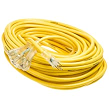 Yellow Jacket 2820 12/3 100-Feet 15-Amp Heavy-Duty SJTW Contractor Extension Cord with Lighted Power Block