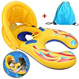 Mother and Baby Pool Float Inflatable Dual Seat Baby Float Swim Ring with Adjustable Removable Sunshade Canopy and Storage Bag Yellow