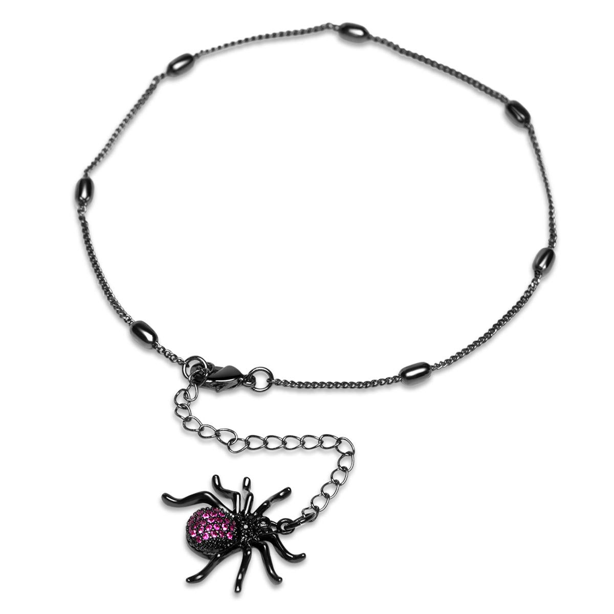 Karseer Beach Link Anklet Black Shiny Spider Charm Adjustable Tassel Insect Animal Ankle Bracelet Foot Jewelry for Women and Girls