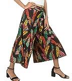 Tribe Azure 100% Cotton Capri Pants Loose Comfortable Boho Hippie Beach Summer Casual Everyday Floral (Black Floral, Large/XL)