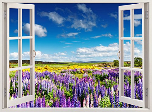 Blossoming field Wall Decal Flowers Blossom Print, 3D Wall-Sticker for home decor, 33