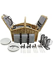 HappyPicnic 'Huntsman' Willow Picnic Hamper for 4 Persons with Double Lids and 'Built-in' Insulated Cooler, Natural Wicker Picnic Basket with Canvas Stripe Lining, Willow Picnic Set(Navy Stripe)