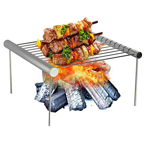 MCJL Outdoor Portable Stainless Steel Grill, Mini Grill Folding Barbecue Rack Removable Bonfire Party Family Camping Trip Barbecue