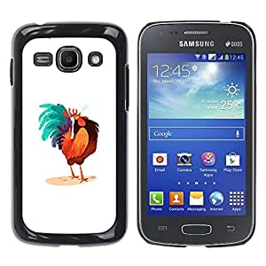 Shell-Star Arte & diseño plástico duro Fundas Cover Cubre Hard Case Cover para Samsung Galaxy Ace 3 III / GT-S7270 / GT-S7275 / GT-S7272 ( Rooster Colorful Art Blue Big Tail Drawing )