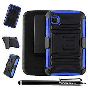 For LG Optimus Dynamic II L39C Blue/Black Rugged Impact Armor Hybrid Kickstand Cover with Belt Clip Holster Case + Stylus Pen