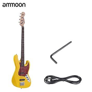 ammoon Madera Maciza 4 Cuerdas JB Guitarra Bass Eléctrica Cuerpo de Tilo Diapasón de Palo de Rosa 24 Trastes con Cable de 6,35 mm: Amazon.es: Instrumentos ...
