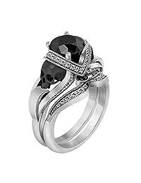 1.26 Carat Black & White Sim Diamond 10k White Gold Over Skull Bridal Set Engagement Wedding Ring