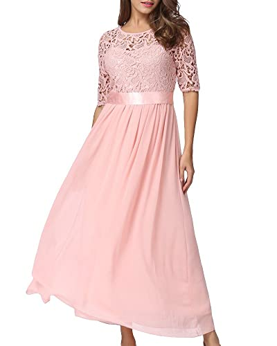 Romacci Women Half Sleeve Lace Splice Chiffon Wedding Bridesmaid Gown Cocktail Formal Evening Party ...