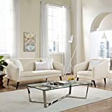 Modern Contemporary Urban Design Living Lounge Room Sofa Set ( Set of Two), Beige, Fabric