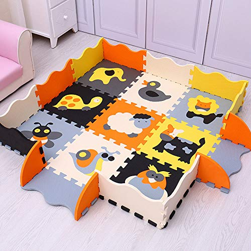PinnacleT1 Soft Playmat Foam Interlocking Floor Tiles Play Puzzle Mat Floor Jigsaw Rug Baby Crawl Mat for Children,25 Pieces12x12inch (Jigsaw Rug)