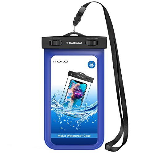 MoKo Waterproof Phone Pouch, Underwater Cellphone Case Dry Bag with Lanyard Armband Compatible with iPhone 11/11 Pro Max, X/Xs/Xr/Xs Max, 8/7/6 Plus, Samsung S10/S9/S8 Plus, S10e, A10E, Note 10, Blue