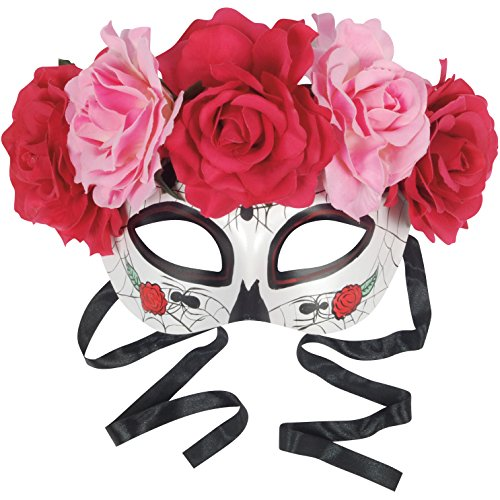 Star Power Day of the Dead Sugar Skull Half Mask w Roses, White Multi, One-Size - Day Of The Dead Sugar Skull Costumes