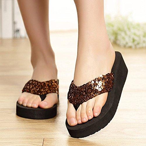 Kvinnor Plattform Sandals Flip Flops Kil Paljett Strand Rem Sandal Tofflor Brun