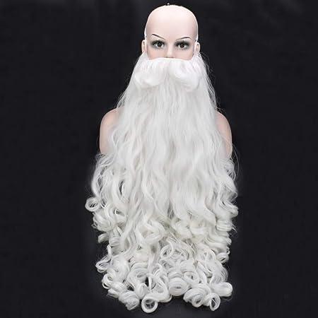 YUNDUO Santa Claus Peluca, Barba Blanca Larga El Vestido Rizado Accesorios Barba de la Navidad del Traje, Carnaval, Fiestas de Disfraces, Juego de rol: Amazon.es: Hogar