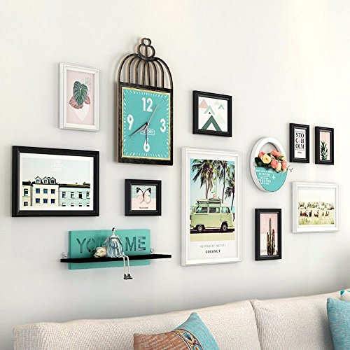 WUXK American photo wall decor picture frame photo frame wall small fresh ideas with clocks living room wall, D. by WUXK