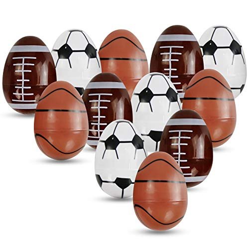 Athoinsu Easter Decorations Sports Egg Fillable Assorted Ball for Egg Hunting Games Spring Garden Yard Decor Kids' Festival Gifts, 12 PCS, 3''
