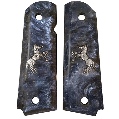 Ajax Grips - Fits: Colt Government Full Size 1911 - Rampant Horse Inlay (Black Pearlite/Silver ()