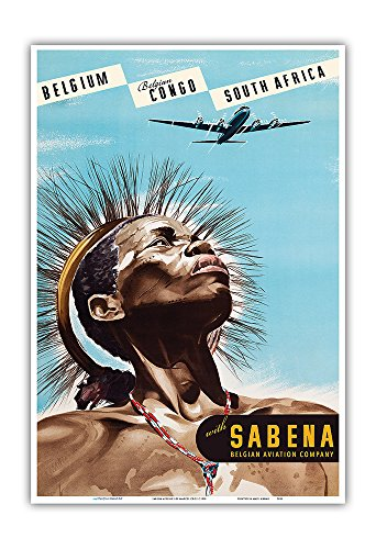 Pacifica Island Art Belgium - Sabena Airlines - Belgian Congo - South Africa - Vintage Airline Travel Poster by Marcel Cros c.1950 - Master Art Print - 13in x 19in