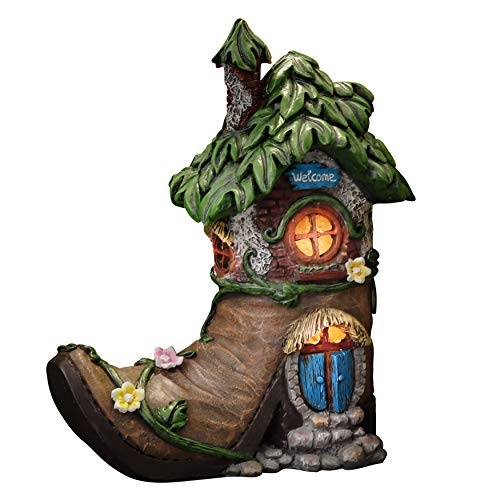 TERESA'S COLLECTIONS Boot Fairy House Garden Statues with Solar Powered Lights, Waterproof Resin Outdoor Cottage…
