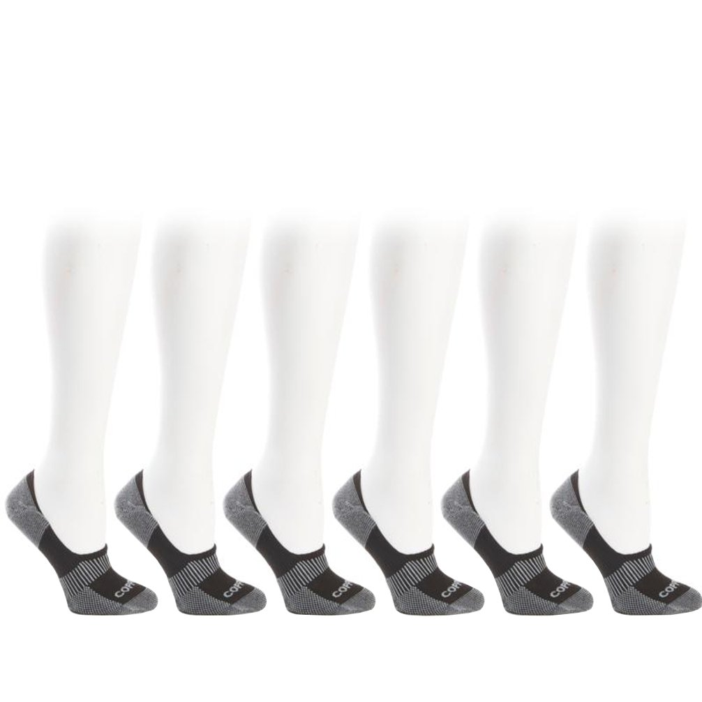 Copper Fit 6-Pair Unisex Copper Infused No-Show Socks (Black) Small / Medium