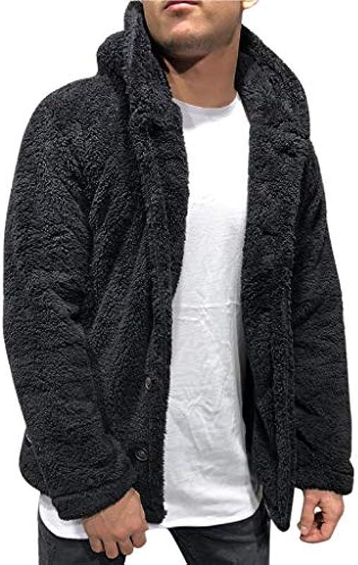 Transwen męska kurtka zimowa pluszowa z guzikiem kurtka dzianinowa kurtka polarowa Casual płaszcz zimowy Revers Faux ciepła outwear kurtka zimowa jogging baseball kurtka bluza Cardigan bez kaptura College Coat: