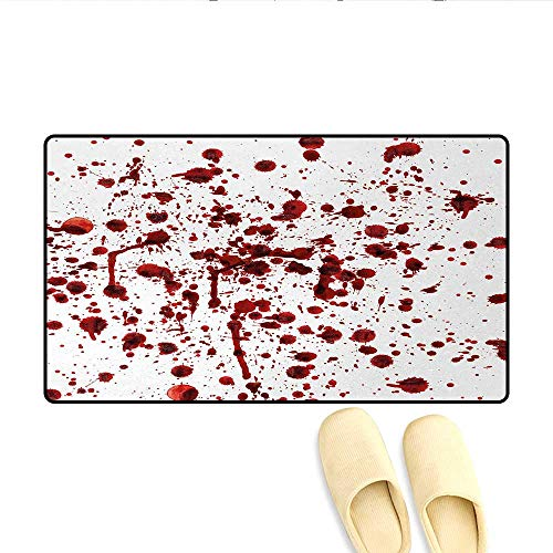 Doormat,Splashes of Blood Grunge Style Bloodstain Horror Scary Zombie Halloween Themed Print,Bath Mat 3D Digital Printing Mat,Red White,Size:16
