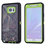 MOONCASE Galaxy Note 5 Case, [Realtree Camo Series] 3 Layers Heavy Duty Defender Hybrid Soft TPU +PC Bumper Triple Shockproof Drop Resistance Protective Case Cover for Samsung Galaxy Note 5 -Green Tree