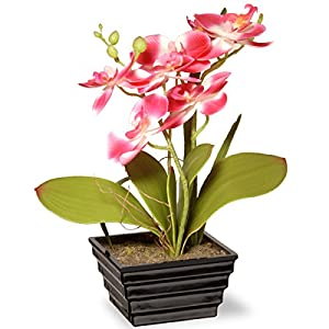 National Tree 12 Inch Pink Orchid Flowers with Black Tiered Square Base (NF36-5415S-1) 18