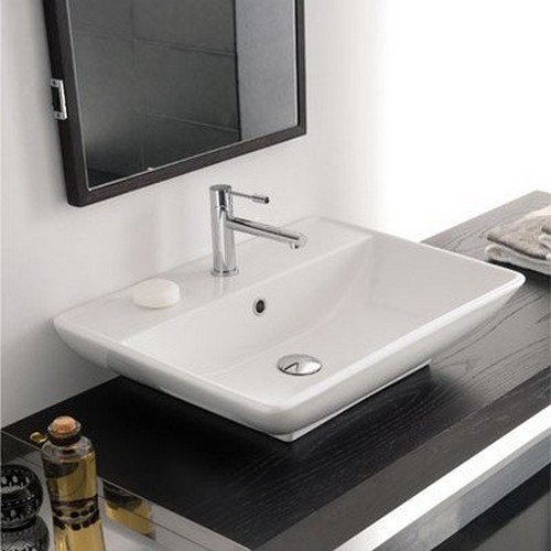 Scarabeo 8046/R-One Hole Kyles Rectangular Ceramic Wall Mounted/Vessel Sink, White