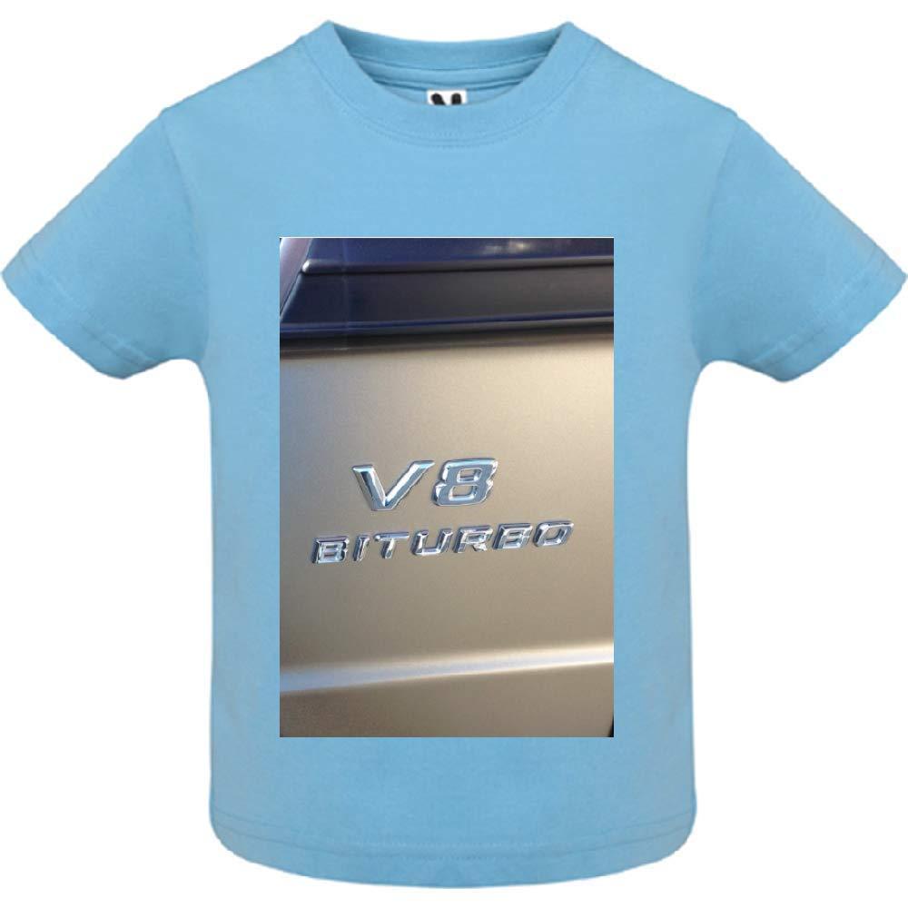 access-mobile-ile-de-re.fr T-Shirt - Manche Courte - Col Rond - V8 bi Turbo - Bébé Garçon - Bleu - 6mois