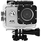 Acouto Wifi Sports Action Camera,2 Inch 4k 12MP 140°Angle with Waterproof Housing Case,Camera Frame,USB Cable,US Plug Adapter and more Accessories Kits (White)