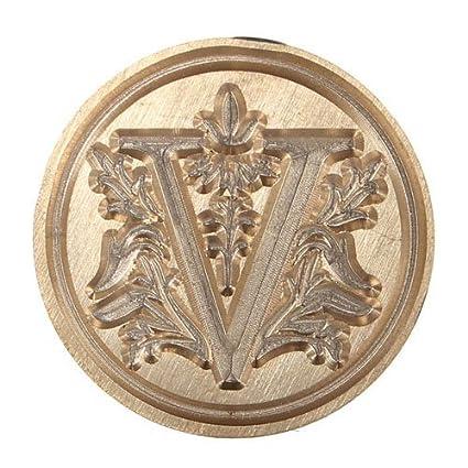 Demarkt Alphabet A /à Z Cachet Sceau Tampon B/âtonnet Cire Wax Seal Stamp en Laiton et Bois pour Courrier