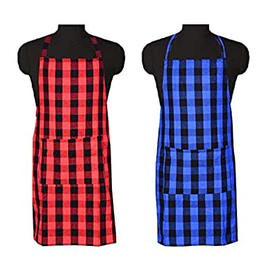 COMFORT WEAVE 100% Cotton Kitchen Apron Free Size - 65 X 80 cms with Front Centre Pocket (Pack of 2 Pieces) 6