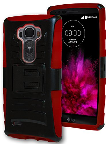 G Flex 2 Phone Case, Bastex Heavy Duty Hybrid Kickstand Holster Case - Soft Red Silicone Cover Hard Black Kickstand Holster Case for LG G Flex 2**INCLUDES SCREEN PROTECTOR AND STYLUS**