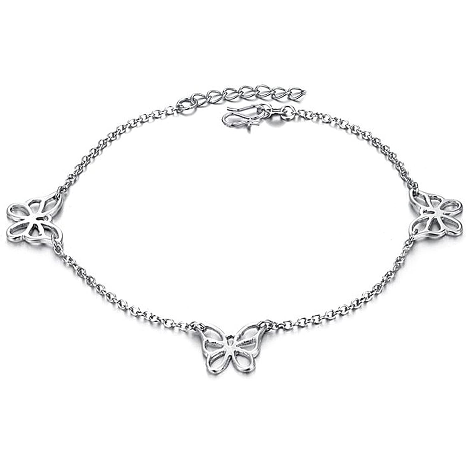 Platinum Tone Stunning Lucky Butterfly Anklets L9.72""