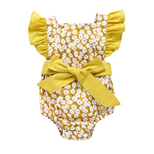 (Sunhusing Toddler Infant Sleeveless Candy Color Small Floral Print Sling Button-Down Romper+Headband Suit Yellow)