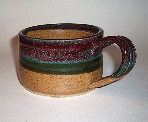 """""""ABC Products"""" - Hand Made Clay - Soup Bowl - With Handle - You Can Spoon It Out - Drink It Right Of The Bowl - (Variegate Stripes - Dark Green, Light Green, And Mauve Glazed) Made of Clay Pottery A440"""