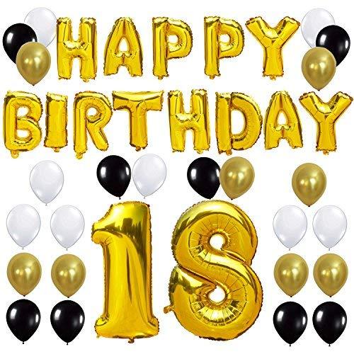 KUNGYO Letras Tipo Balón Doradas Happy Birthday+Número 18 Mylar Foil Globo+24 Piezas Negro Oro Blanco Globo de Látex 18 Años de Antigüedad Fiesta de ...